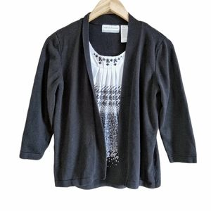 Alfred Dunner Petite 2 In 1 Blouse Cardigan Top SP